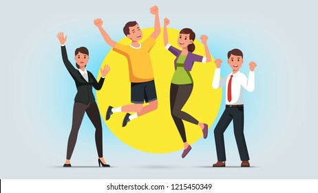 Cheerful men and women wearing casual and formal clothes raising hands and jumping. Diverse people celebrating business success or win achievement. Flat style vector character illustration
