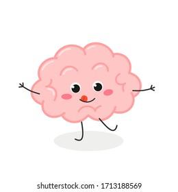 Cheerful mischievous cartoon brain character. Vector flat illustration isolated on white background