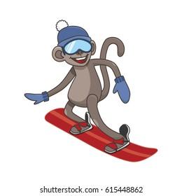 Cheerful monkey snowboarding. Animal on white background. vector illustration