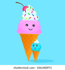 A cheerful mother and child ice cream cone characters.
