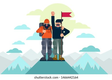 Cheerful mountaineers with flag celebrating success after reaching mountain top together. Success concept vector illustration.
