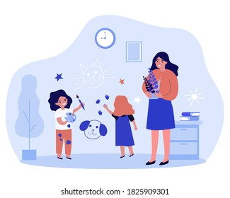 Cheerful naughty children drawing on wall at home. Upset mom, paints, paintbrush flat vector illustration. Active kids, childhood, activity concept for banner, website design or landing web page