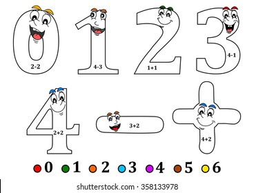 Cheerful numbers to painting as counting for little kids - coloring book - vector