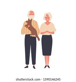 Cheerful old couple flat vector illustration. Aged man and woman, senior adults standing together cartoon characters. Elderly married pair, husband and wife with dog. Happy marriage, retirement.