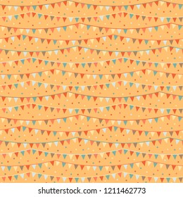 Cheerful party on vector pattern with confetti and banderols, seamless repeat design. Bright colours on yellow background. Ideal for gift wrapping paper, invitation cards, scrapbooking, textiles etc.