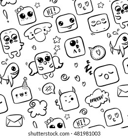 Cheerful pattern depicting various emotions. All faces painted in the style of doodle art. Emotions sleeping, smiling, furious, sends a kiss. Pattern in black and white.