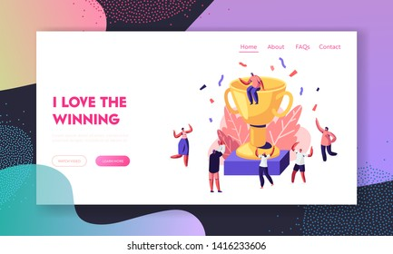 Cheerful People Celebrating with Hands Up around of Huge Gold Cup with Man Sitting on Top. Rejoice New Project, Success, Win Website Landing Page, Web Page. Cartoon Flat Vector Illustration, Banner