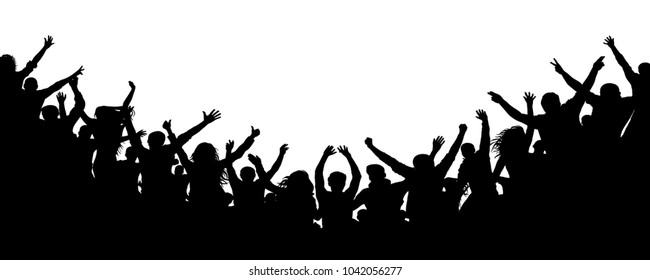 Cheerful people crowd applauding, silhouette. Party, applause. Fans dance concert, disco