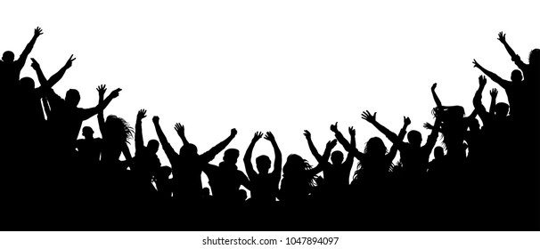 Cheerful people crowd applauding, silhouette. Party, applause. Fans dance concert, disco spectators,  chaos audience shadow