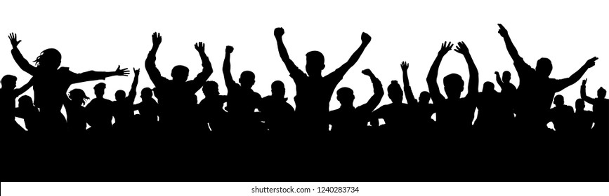 Cheerful people having fun celebrating. Cheers joy of victory. Group of friends, youth. Crowd of fun people on party, holiday. Applause people hands up. Silhouette Vector Illustration