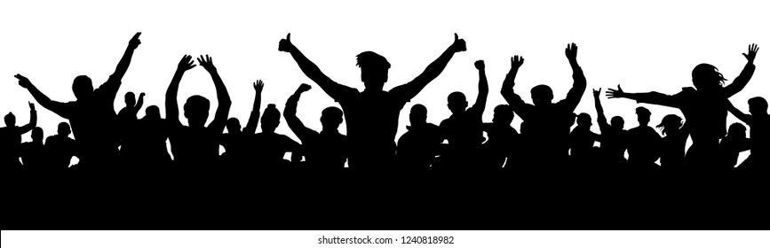 Cheerful people having fun celebrating. Thumb up, OK. Group of friends, youth. Crowd of fun people on party, holiday. Applause people hands up. Silhouette Vector Illustration