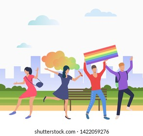 Cheerful people in pride parade. Diversity, discrimination, freedom concept. Vector illustration can be used for topics like tolerance, homophobia, social rights