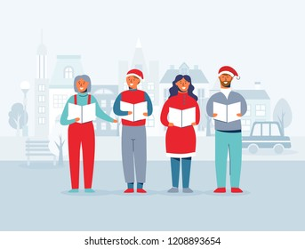 Cheerful People in Santa Hats Singing Christmas Carols. Winter Holidays Characters on Cityscape Background. Xmas Singers. Vector illustration