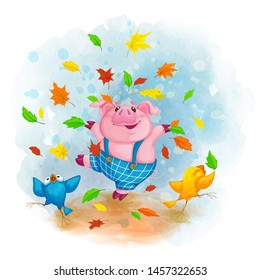 Cheerful pig in blue pants dancing and throwing autumn fallen leaves. Two funny birds. Vector cartoon character. Watercolor background.