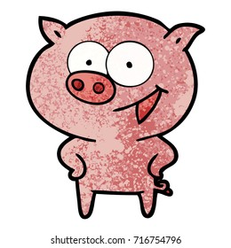 cheerful pig cartoon