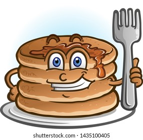 A cheerful pile of pancakes and flapjacks holding a cartoon character holding a fork