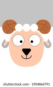 Cheerful plain ram head with a square head for baby products and children