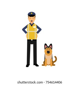 Cheerful police officer standing with service german shepherd dog isolated on white. Policeman cartoon character in uniform with yellow reflective vest. Civil guard. Vector flat design illustration.