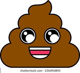 Cheerful poop emoji vector illustration