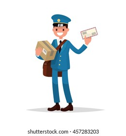 Cheerful postman with parcels and letter. Vector illustration of a flat design