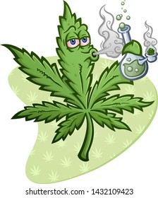 A cheerful pot vector cartoon character getting high and smoking a glass water bong with a packed bowl