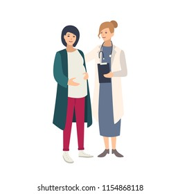Cheerful pregnant woman standing together with female doctor, physician or midwife and talking to her. Healthy pregnancy, reproductive health. Colorful vector illustration in flat cartoon style