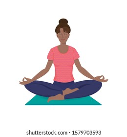 Cheerful pretty yogini woman is practicing meditation sitting in Siddhasana on a yoga mat. Vector illustration with texture in cartoon style.