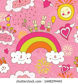 Cheerful rabbits walk over the rainbow. Seamless pattern can be used for wallpaper, pattern fills, web page background, postcards.