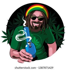 Cheerful rastaman in a red T-shirt, glasses, with dreadlocks and a beard, smokes bong, weed, marijuana, hemp. Vector flat illustration.