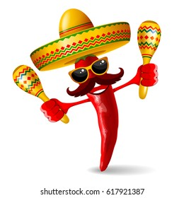 Cheerful red pepper jalapeno in sombrero and with maracas - symbols of mexican holiday Cinco de Mayo. Isolated on white background. Vector illustration.
