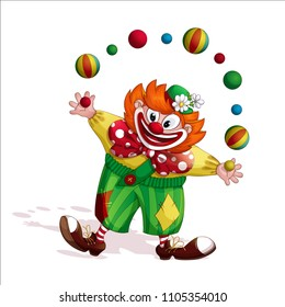 A cheerful red-haired clown in green striped pants and a funny hat with daisies, juggles with striped balls. Circus vector cartoon character. Isolated.