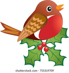 A cheerful robin redbreast perched on holly with red berries