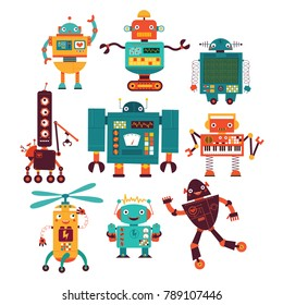 cheerful robots vector set
