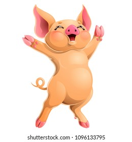 The cheerful ruddy pig rejoices standing on hind legs. A yellow hog, boar a symbol 2019 New Years according to the Chinese calendar. A cartoon vector illustration isolated on white.