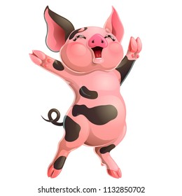 The cheerful ruddy pink and black pig rejoices standing on hind legs. A yellow hog, boar a symbol 2019 New Years according to the Chinese calendar. A cartoon vector illustration isolated on white.