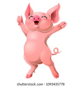 The cheerful ruddy pink pig rejoices standing on hind legs. A yellow hog, boar a symbol 2019 New Years according to the Chinese calendar. A cartoon vector illustration isolated on white.