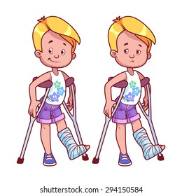 Cheerful and sad boy with a broken leg in a cast. Vector illustration on a white background.