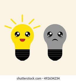 Cheerful and sad light bulbs. Vector graphic