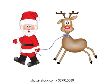 Cheerful Santa Claus with a cute smiling reindeer. Isolated on the white background.