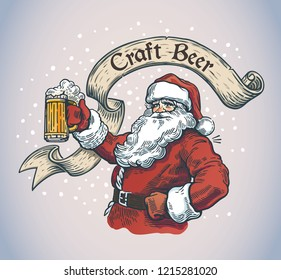 Cheerful Santa Claus with a mug beer in hand with ribbon and inscription on it.