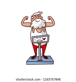 Cheerful Santa Claus standing on scales and showing biceps. Old bearded man with happy face. Cartoon vector design