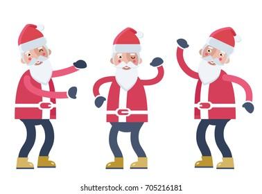 Cheerful Santa Clauses dancing