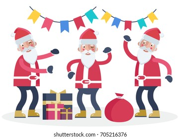 Cheerful Santa Clauses dancing with multicoloured festive flags above and presents around them