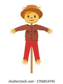 Cheerful scarecrow cartoon character , vector illustration