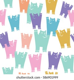 Cheerful seamless pattern with colored animals. Vector pattern for fabric with cubs