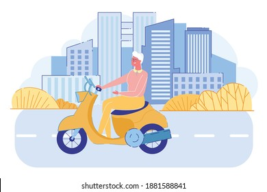 Cheerful Senior Lady Driving Vintage Scooter on Cityscape Background with Skyscrapers. Active Grandma Riding Bike. Retired Pensioner Leisure, Hobby and Lifestyle. Cartoon Flat Vector Illustration - Shutterstock ID 1881588841