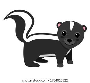 Cheerful skunk on white background