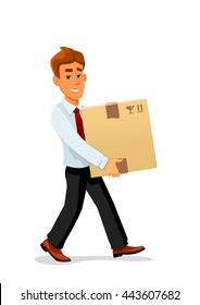 Cheerful smiling cartoon delivery man character is carrying a bulky cardboard package. Great for delivery service or profession themes design