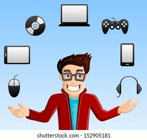 Cheerful, Smiling Computer Geek - Juggling Gadgets - Laptop, Smart phone, Tablet PC, Joystick, Mouse, CD/DVD & Headphones