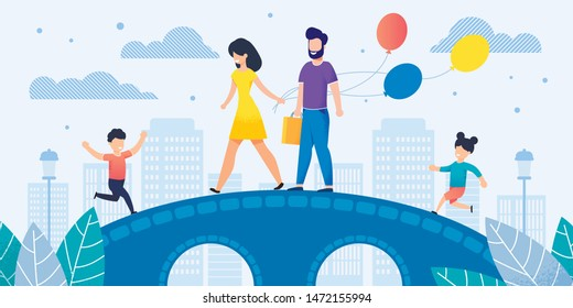 Cheerful Smiling Family Members on Walk Illustration. Cartoon Father with Handbag, Mother with Balloons, Son and Daughter on Bridge. Flat Cityscape. Holidays and Fun. Vector Happy Children and Parents